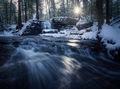 cascade, pelham, massachusetts, patrick zephyr, waterfall, winter, sunrise, forest