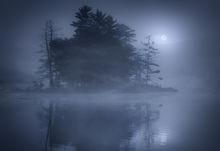 harvard pond, petersham, Massachusetts, fog, moon, Patrick Zephyr, island