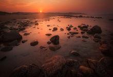 sunset, dusk, Massachusetts, Newburyport, rocks, ocean, sand, reflection,
