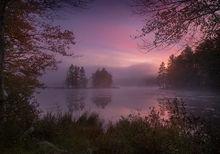 autumn, New England, sunrise, dawn, pink, Petersham, Harvard Pond, Massachusetts, Patrick Zephyr