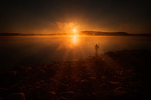 sunrise, fire, quabbin reservoir, lake, silhouette, Massachusetts,