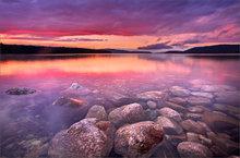Quabbin, sunset, rocks, lake, massachusetts