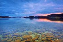 Quabbin, sunset, rocks, massachusetts