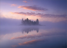 quabbin reservoir, massachusetts, sunrise, island, pink, fog