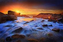 Biddeford pool, Maine, rocks, sunrise
