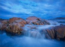 Biddeford pool, Maine, rocks, blue, sunset