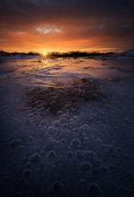 bubbles, sunset, dusk, ice, winter, hadley, Massachusetts
