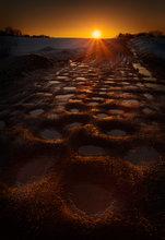 potholes, road, hadley, massachusetts, sunset, dusk, orange,