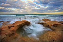 Florida, waves, ocean, surf, sunset, coral cove