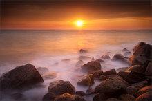 sunrise, dawn, cape cod, massachusetts, falmouth, chappy beach, ocean, waves, rocks, long exposure