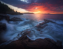 acadia national park, Maine, coast, sunrise, dawn, rocks, Patrick Zephyr, nature photography