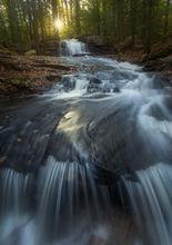 cascade, waterfall, sunrise, dawn, forest, massachusetts, pelham, patrickzephyr