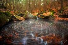 stream, cascade, eddy, swirl, long exposure, leaves, pelham, Massachusetts, forest, trees,