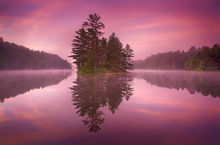 quabbin reservoir, massachusetts, sunrise, island, pink