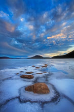 Quabbin reservoir, Massachusetts, winter, ice, sunset, rocks