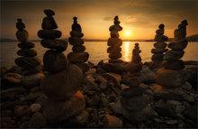 rocks, cairns, sunrise, dawn, quabbin reservoir, massachusetts, lake, stone stacking