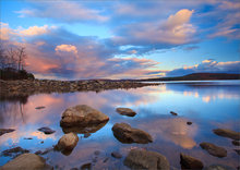 quabbin reservoir, massachusetts, sunset,  reflection