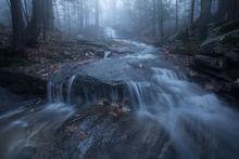 cascade, evening, blue, fog, Pelham, Massachusetts, patrick zephyr, forest, waterfall