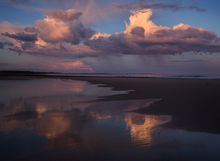 rain, sunset, wells, maine, beach, ocean, reflection, Patrick Zephyr Photography