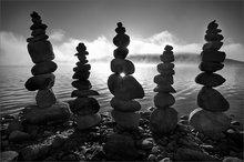 Quabbin reservoir, Massachusetts, cairns, balance, sunset