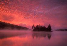 sunrise, quabbin reservoir, massachusetts, island, fog, reflection, magenta