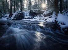 cascade, pelham, massachusetts, patrick zephyr, waterfall, winter, sunrise, forest