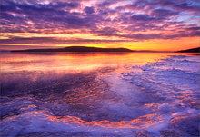 quabbin reservoir, massachusetts, sunrise, cairnes, together, ice, winter