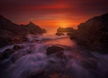 Maine, Ogunquit, waves, red, rocks, ocean, sunrise