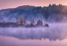 autumn, New England, sunrise, dawn, pink, Boylston, Wachusett reservoir, Massachusetts, Patrick Zephyr