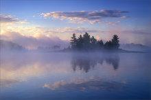 quabbin reservoir, massachusetts, sunrise, reflection, islands