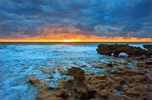 Florida, ocean, sunrise, surf, coral cove