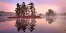 Harvard pond, petersham, Massachusetts, island, sunrise, fog