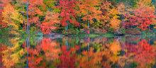 Autumn, reflection, knights pond, Pelham, Massachusetts,