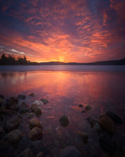 sunrise, dawn, fire, quabbin reservior, massachusetts, reflection, rocks, patrick zephyr