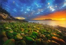 schoodic peninsula, maine, sunrise, rocks, acadia national park