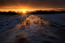 ice, stream, winter, dusk, sunset, hadley, massachusetts,
