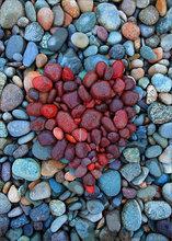 Rocks, heart, red