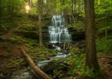 waterfall, massachusetts, Patrick Zephyr, spring, green, forest, New England, Sunderland, Gunn Brook Falls