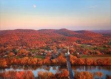 Sunderland, Massachusetts, moon, autumn, sugarloaf mountain