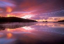 quabbin reservoir, massachusetts, sunrise, pink, reflection
