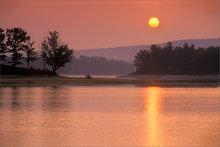 quabbin reservoir, massachusetts, sunrise, orange