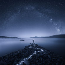 night, milkyway, quabbin reservoir, Massachusetts, long exposure, blue, rocks, stars