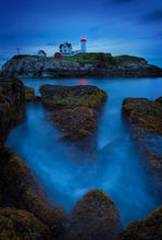 Nubble head light, Maine, lighthouse, blue, sunset