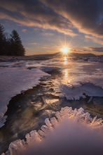 ice, stream, winter, sunrise, Quabbin Reservoir, Massachusetts, Patrick Zephyr, dawn, cold