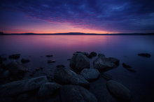 quabbin reservoir, massachusetts, sunset,  reflection, purple
