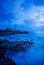 Portland head light, Maine, sunrise, ocean, blue