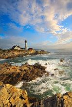 Portland head light, Maine, sunrise, ocean