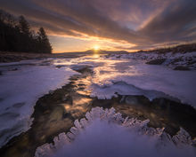 Quabbin Reservoir, Massachusetts, New Salem, ice, winter, stream, sunrise, dawn, patrick zephyr