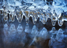 ice, stream, icicles, water, winter, cold, shark, teeth