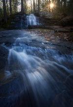 waterfall, stream, sunrise, dawn, massachusetts, patrick zephyr, Pelham, cascade, landscape photography, nature photography